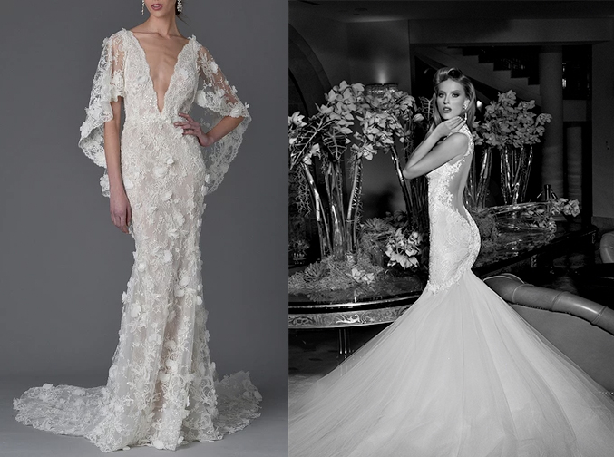 "Left, ""Daffodil"" by Marchesa. Right, ""Loretta"" by Galia Lahav."