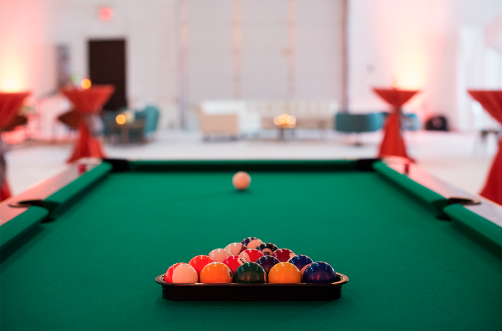 Wedding Reception with pool table