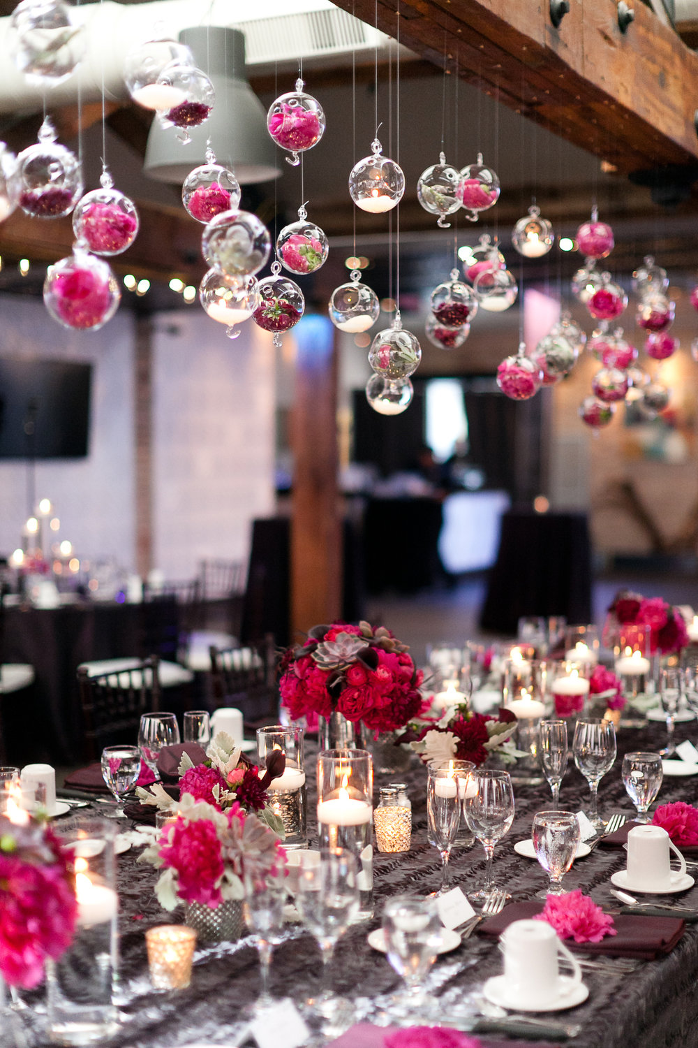 Wedding Head Table with floral orbs