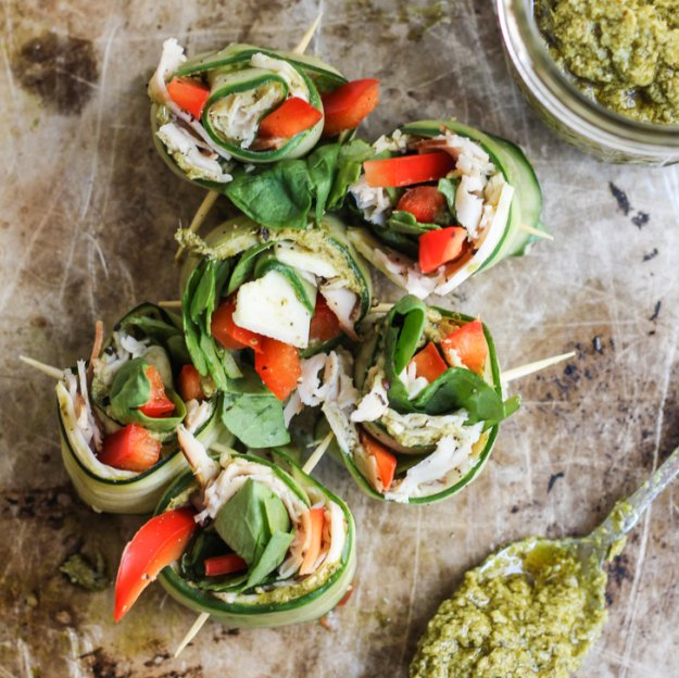 Low Carb Pesto Turkey Cucumber Roll Ups