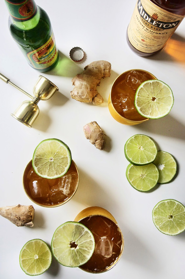 LUNCH -Irish Moscow Mule - INGREDIENTS1.5 oz Irish WhiskeyGinger BeerLimeINSTRUCTIONSFill your copper cup with ice.Add the Irish Whiskey and top with a good quality ginger beer.Finish the drink with a squeeze of lime.Garnish with lime or candied ginger.
