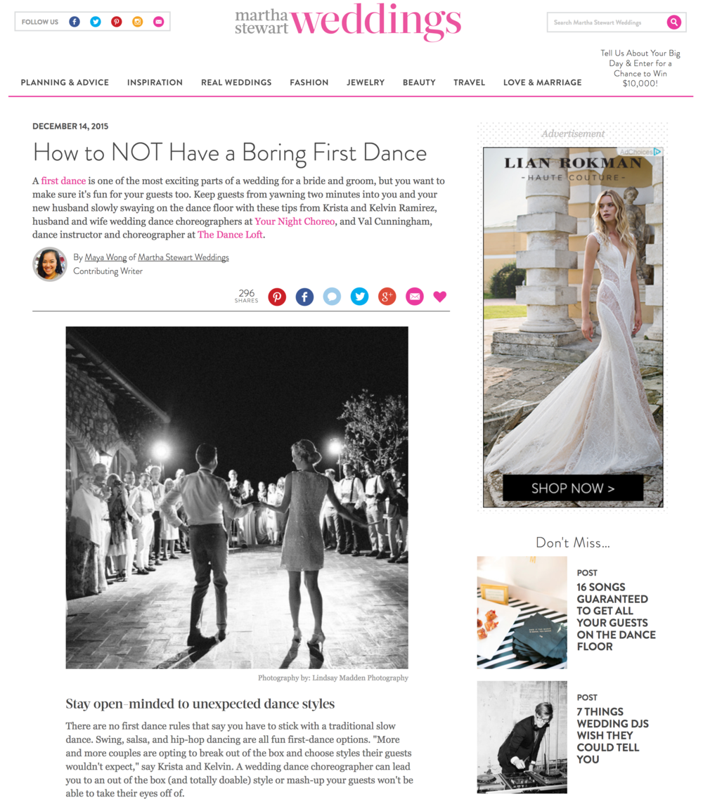 Val Cunningham featured on Martha Stewart Wedding Magazine