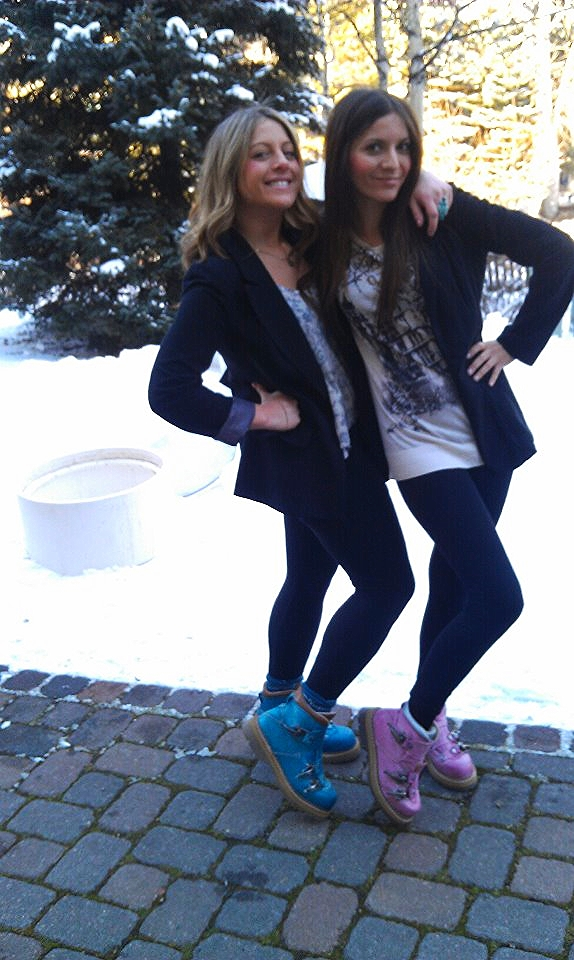 Marina and Kristen (COFO alum)  posing in crazy color ski buckle boots!