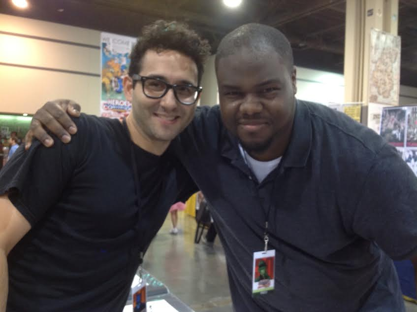 Michel (left) and Adrian meet for the first time at HeroesCon 2011.
