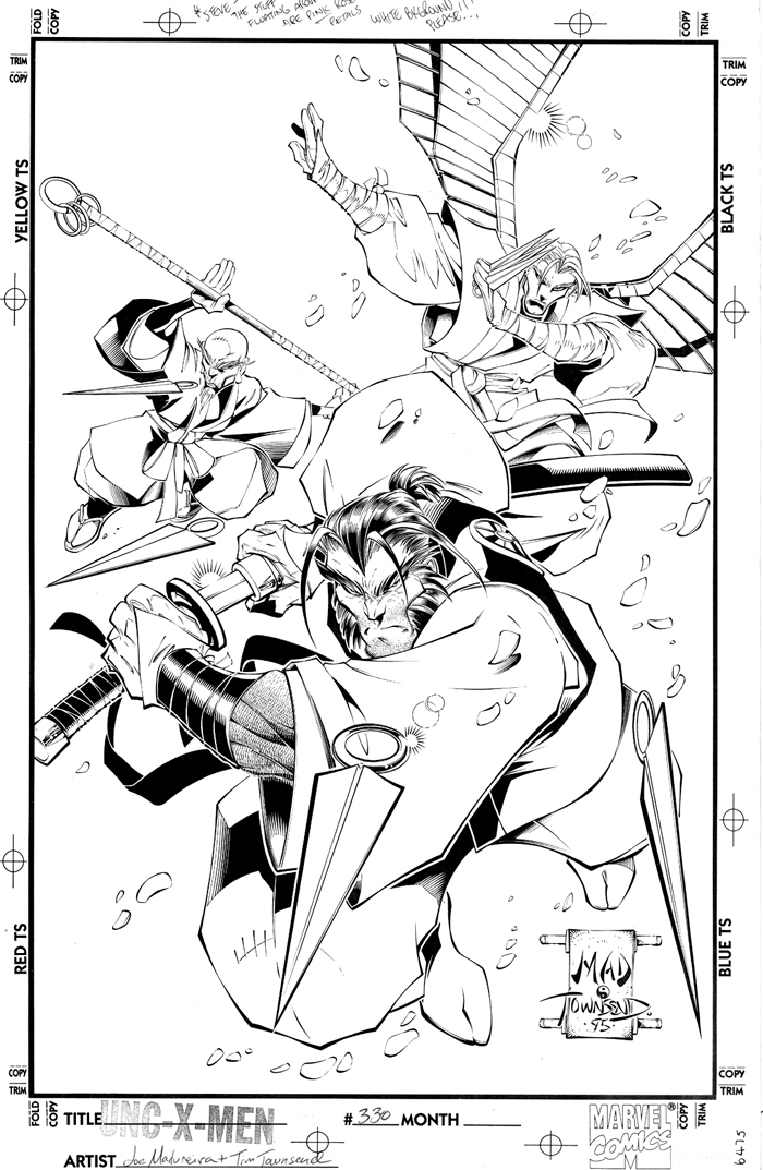 SHOW NOTE  - (21:32): The art team of penciler Joe Madureira and inker Tim Townsend made their huge mark on 'Uncanny X-Men' in the late 1990s; ushering a slick, manga-influenced style to mainstream comics. This is the original art for the cover of the issue that Marc and I mention.