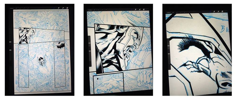 SHOW NOTE  - (1:02:31): Marc mentions starting to ink some of his professional work using an iPad Pro and the Procreate app. Here are actual screenshots from Marc showing the same.
