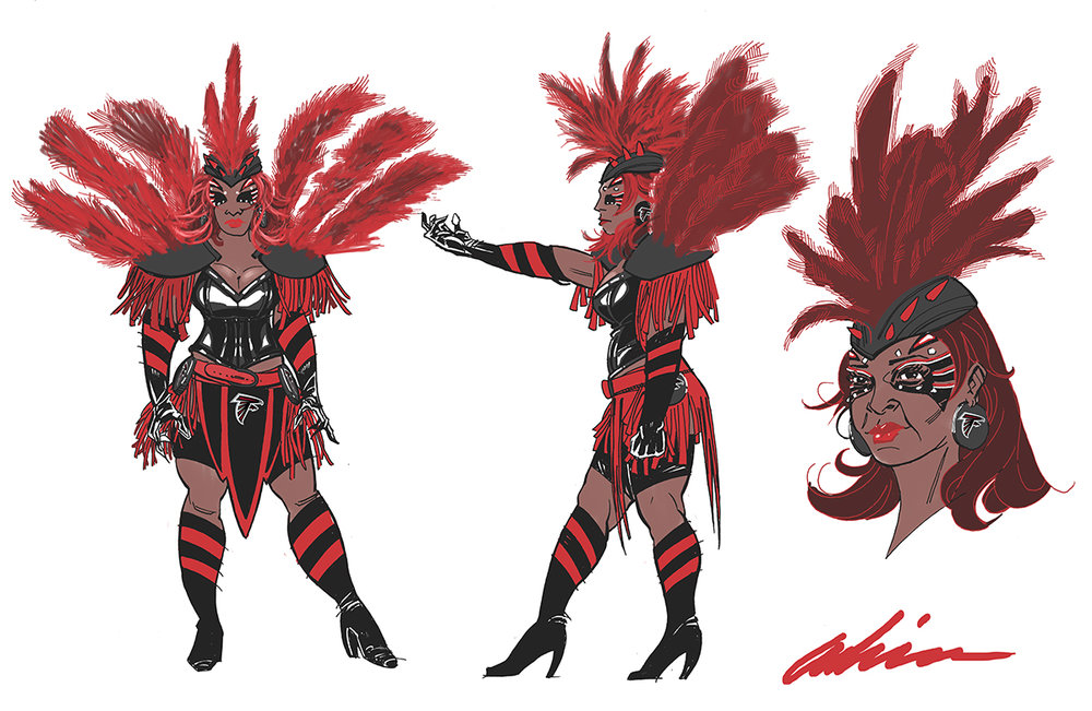Concept Design for Atlanta Falcons 'Bird Lady' Costume