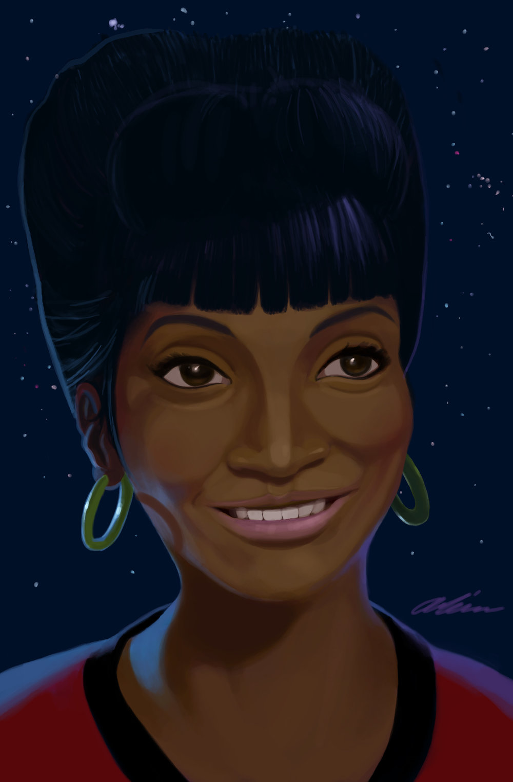 Click to purchase a print of this painting for $10.00 in our Store:  https://www.inazumastudios.com/shop/uhura-print   Star Trek © Paramount Pictures