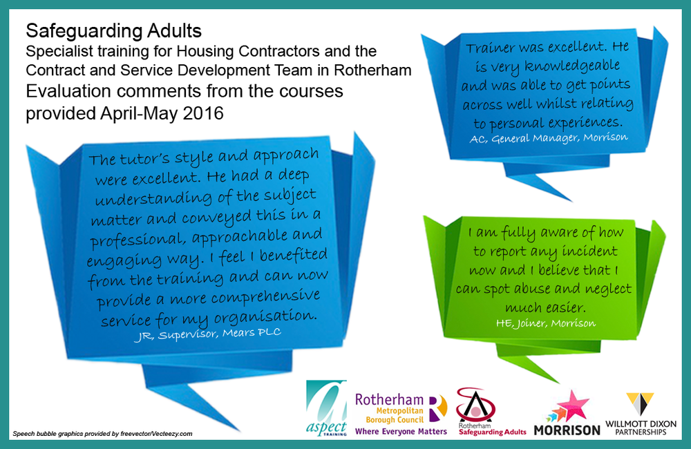 2 courses delivered: Safeguarding Adults Briefing (1.5 hour information session) and Safeguarding Adults: Raising a Concern (1 day in depth course). 11 sessions delivered, training a total of 204 people.