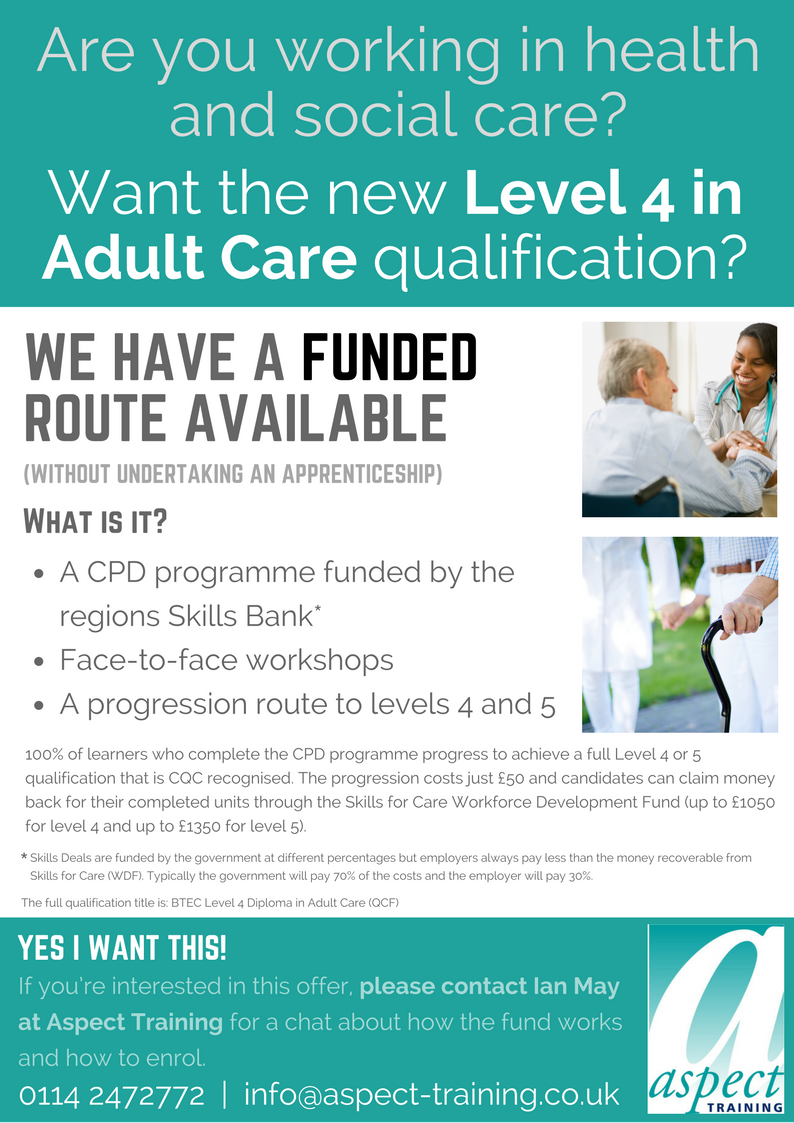 level funded route care training by aspect training limited level 4 adult care funding level 4 diploma nvq fund sheffield rotherham