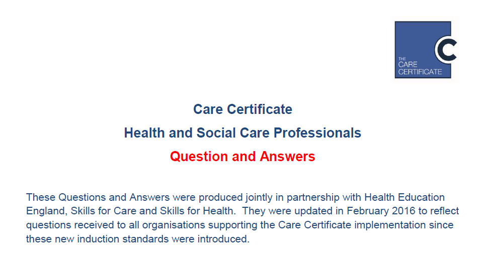 care certificate questions and answers