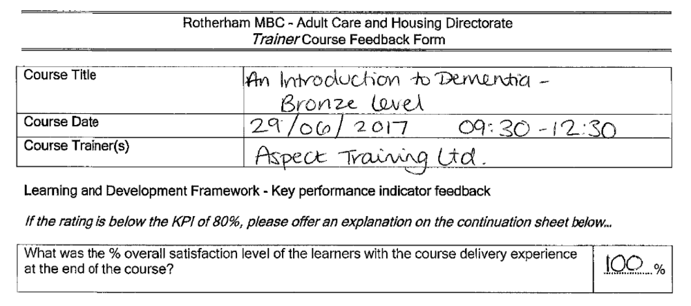 dementia awareness feedback. delegate satisfaction 100%