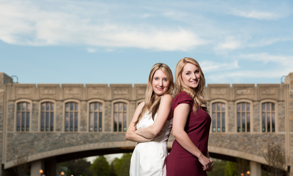 Two Seniors in front of Torgersen Bridge Blacksburg Virginia Portrait and Wedding Photographer Bent-Lee Carr