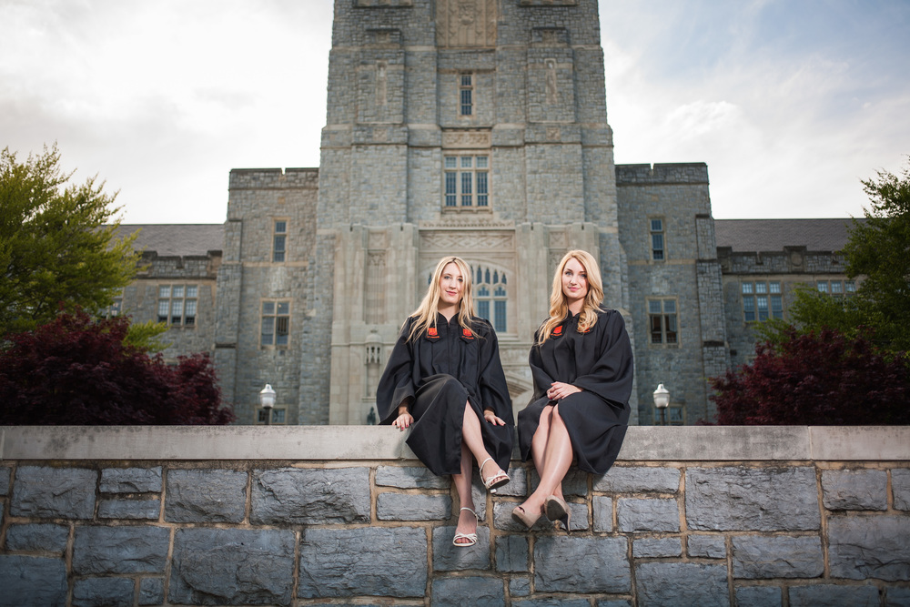 Two seniors in front of Burruss Hall Blacksburg Virginia Portrait and Wedding Photographer Bent-Lee Carr
