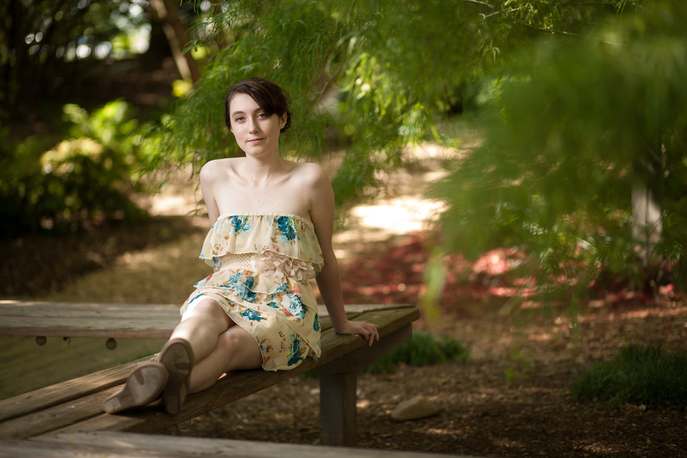 Senior Portrait - sitting on bench Blacksburg Portrait and Wedding Photographer Bent-Lee Carr