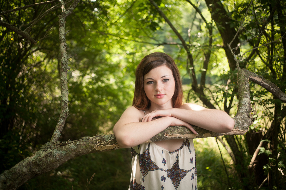 Senior leaning on tree branch Blacksburg Virginia Portrait and Wedding Photographer Bent-Lee Carr