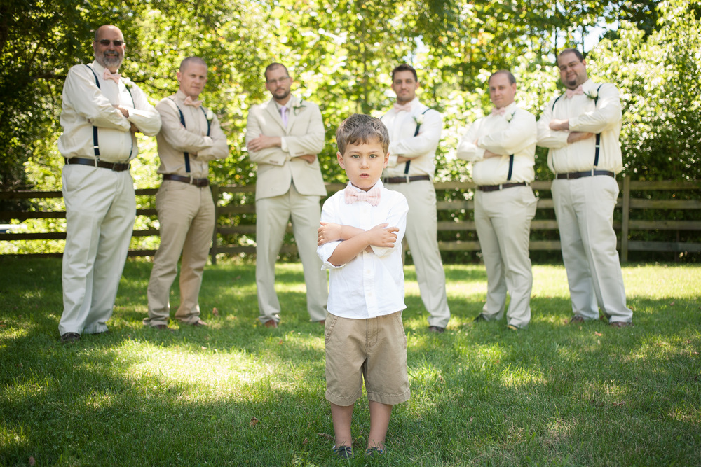 Grooms with ring bearer in front Blacksburg Virginia Portrait and Wedding Photographer Bent-Lee Carr