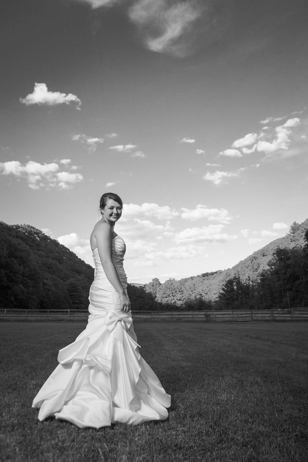Posed bride in a valley in black and white camp alta mons shawsville, virginia