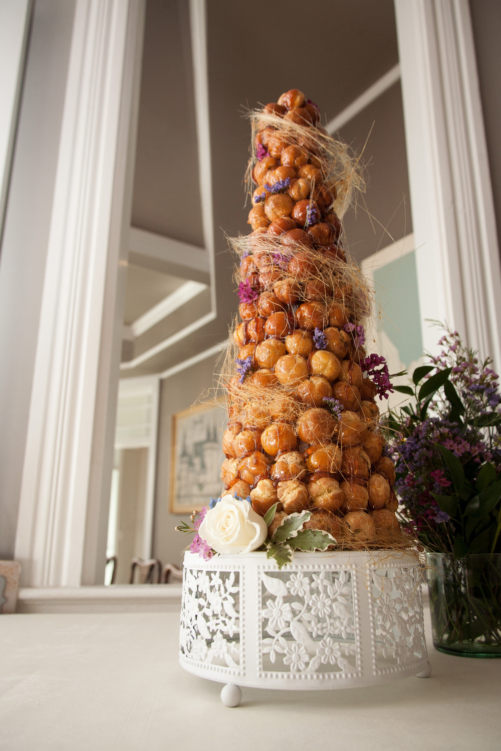 Wedding croquembouche at L'auberge Provencale near Winchester, virginia