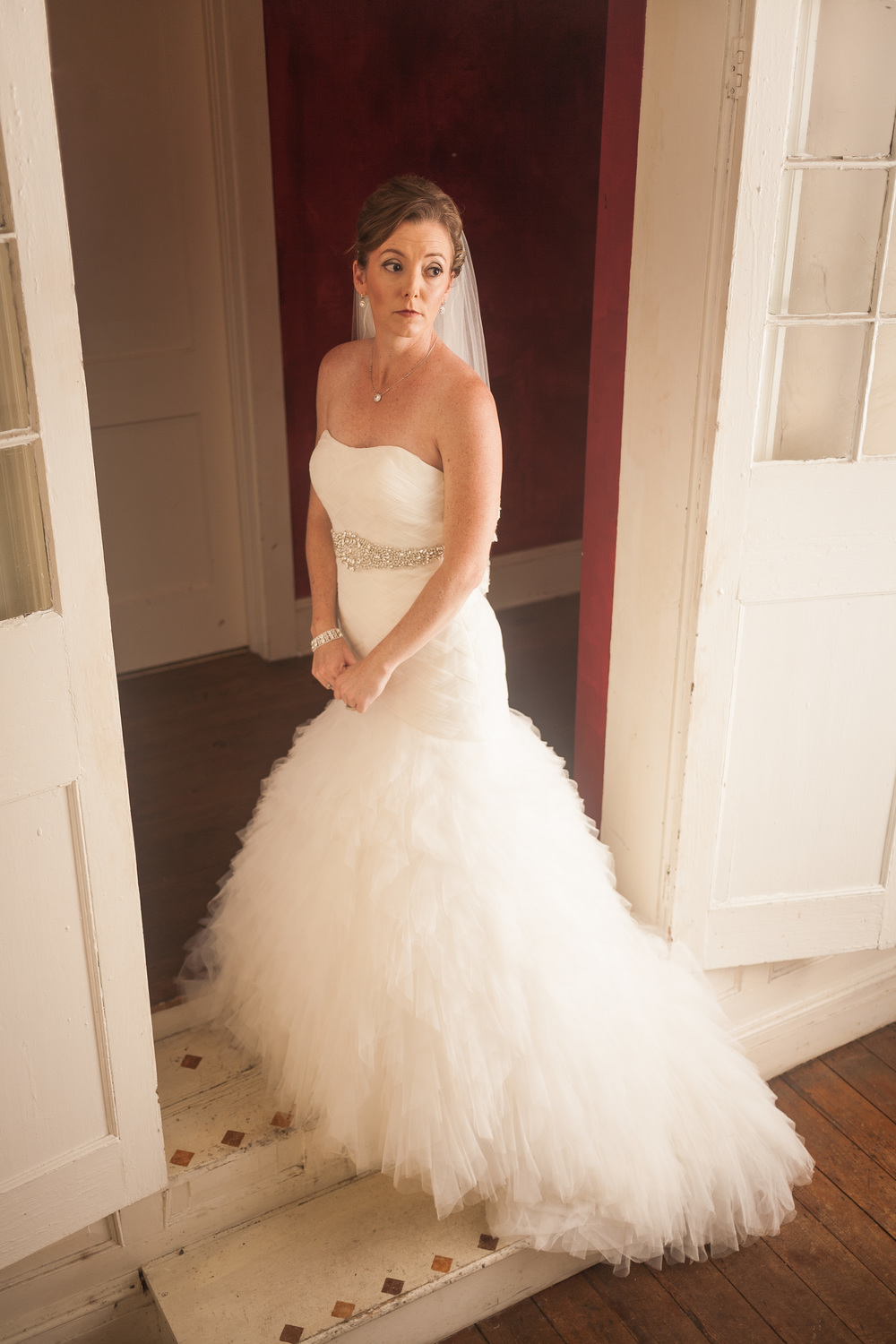 wedding photographer bent-lee carr the kyle house fincastle virginia bride in doorway looking off camera soft side light