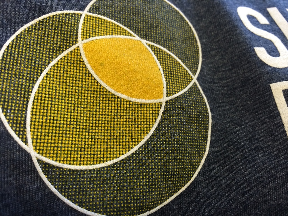 Detail view of Sunlight Foundation Halftone shirt printing