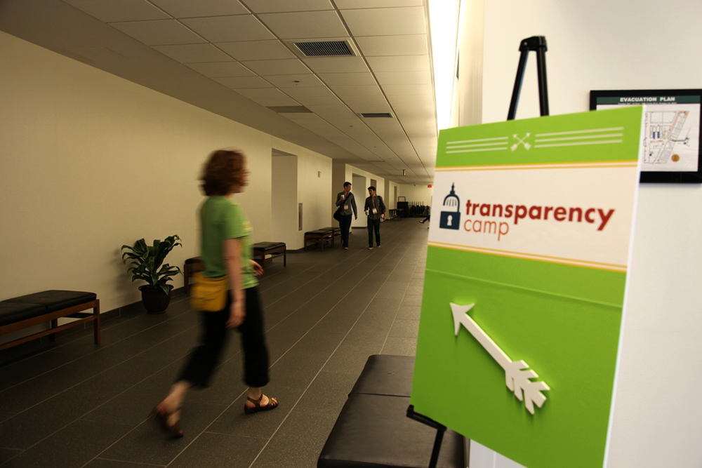 Sunlight Foundation's main signage for TransparencyCamp in 2014