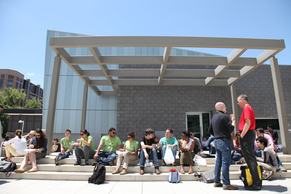 Bright green TransparencyCamp shirts make conference volunteers stand out and easy to find