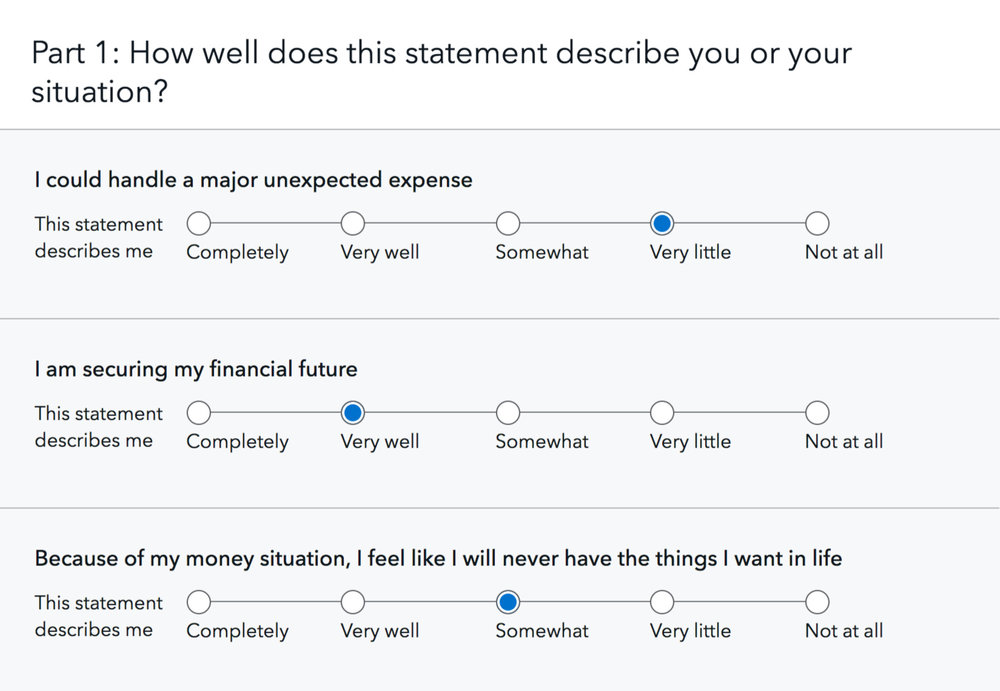 Selected questions from the financial well-being quiz