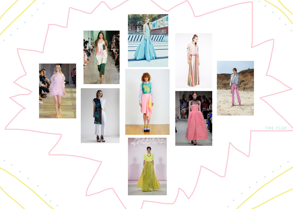 nyfw  spring summer 2016 ::  GIRLY POP   clockwise from left: carolina herrera, tibi, rosie assoulin, j crew, cynthia rowley, oscar de la renta, lela rose, rodebjer, and clover canyon