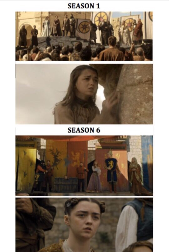 Relevant info pointed out to me by a fellow nerd in our GoT groupme, screengrabs from HBO.