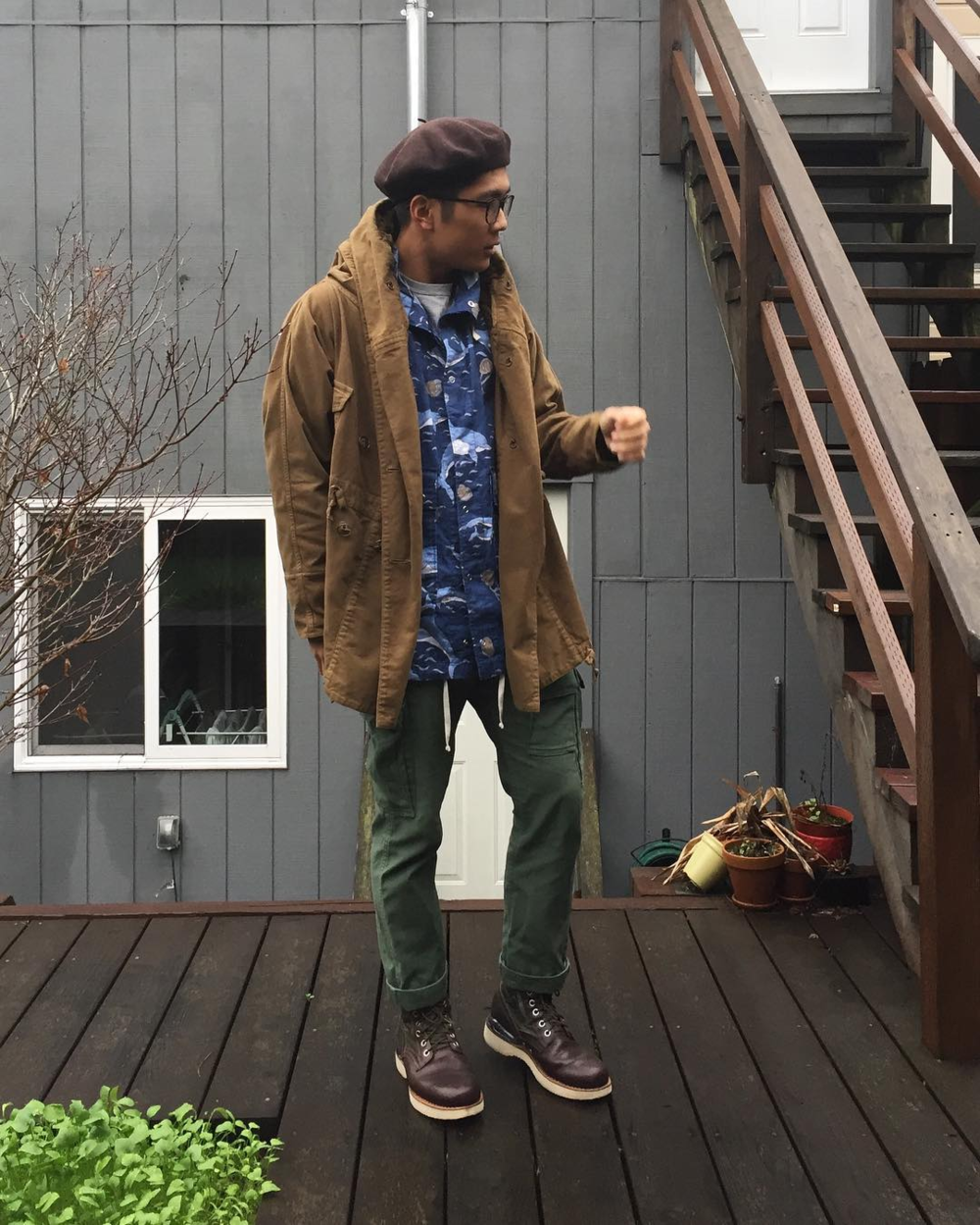 Engineered Garments Dolphin Parka + Cargo Pants worn by me! .png
