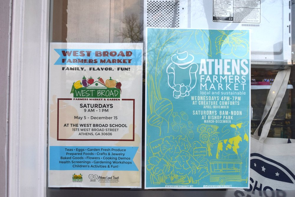 other athens markets… - West Broad Farmers Market & Athens Farmers Market are great seasonal markets in town. They both run from spring to the beginning of winter. And The Indie South has vibrant craft fairs a few times a year too!