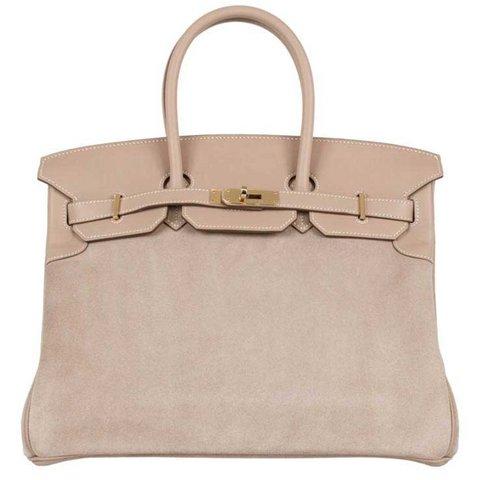 Hermès Birkin Grizzly kil bej süet çanta, $19,950,  Satın almak için tıklayın