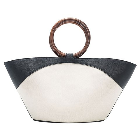 The Row canvas bez ve deri market tote çanta, $2,750,  Satın almak için tıklayın