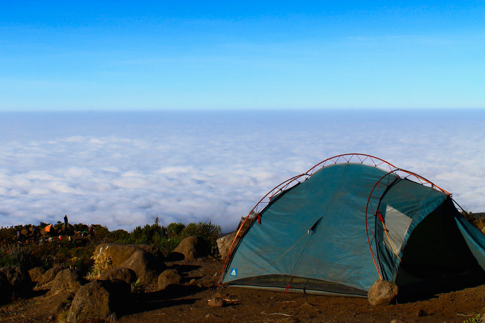 Camping above the clouds on the way up Mount Kilimanjaro.
