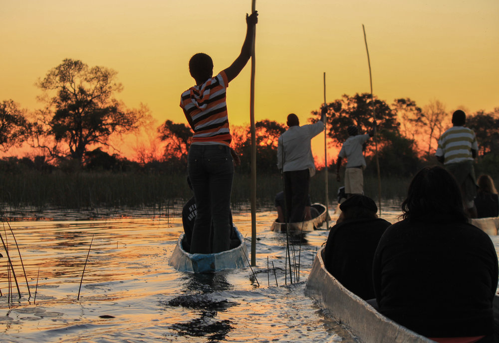 Mokoro canoes at sunset in the Okavango Delta.