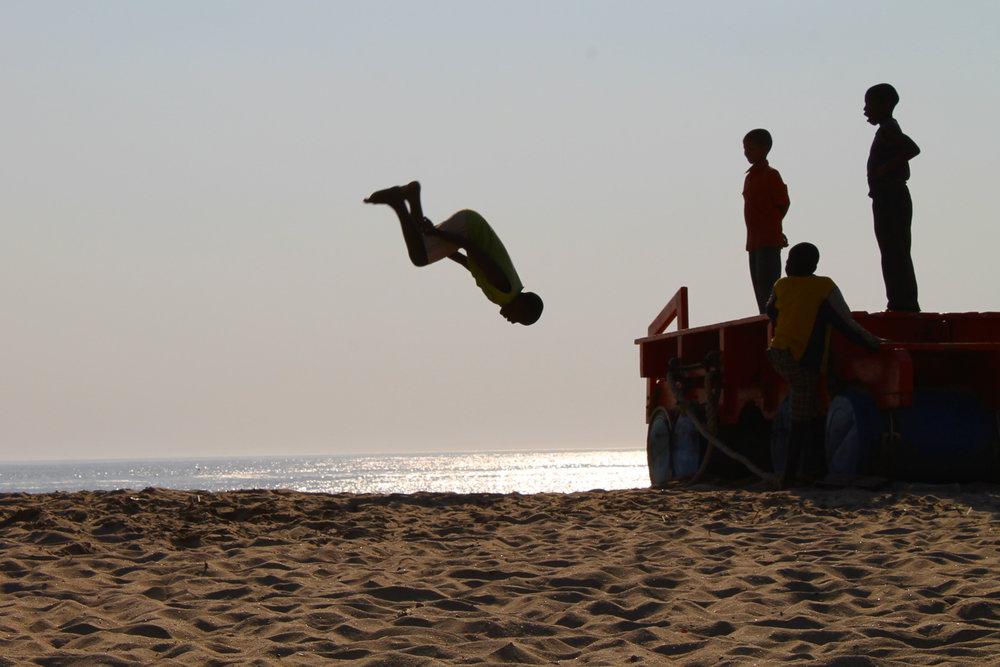 Boys on the beach in Swakopmund.