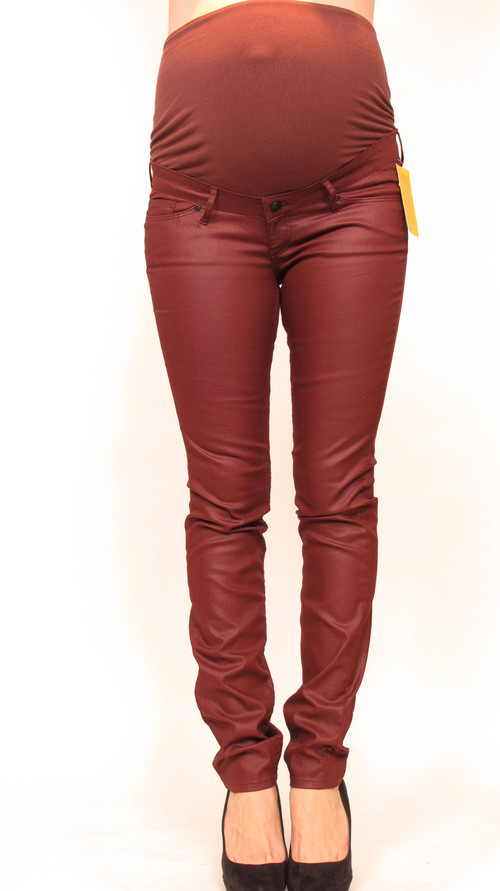 H&M Mama Maroon Waxed Skinny Maternity Jeans — She & Wolf ...
