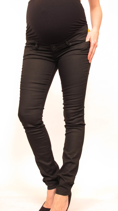H&M Mama Black Waxed Skinny Maternity Jeans — She & Wolf Maternity ...