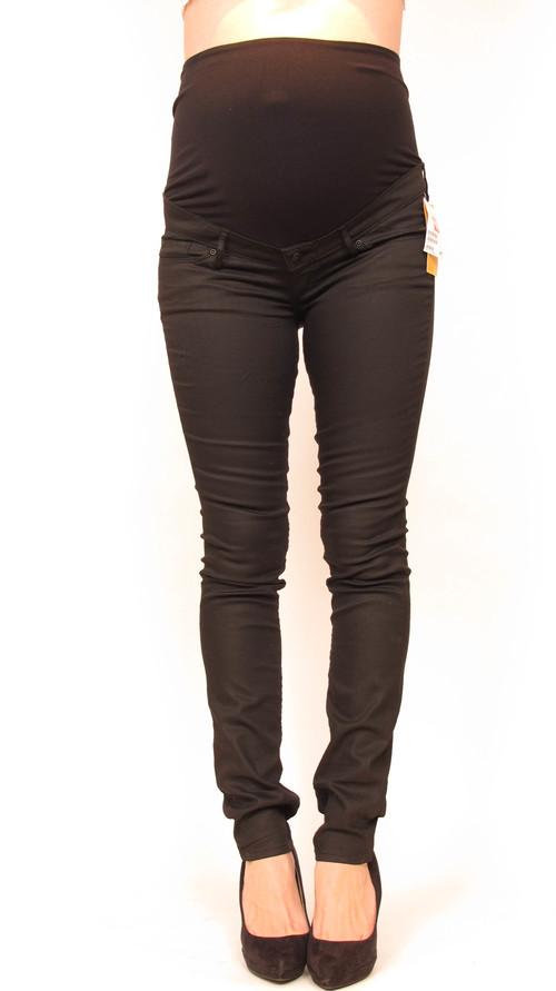 H&M Mama Black Waxed Skinny Maternity Jeans — She & Wolf Maternity ...