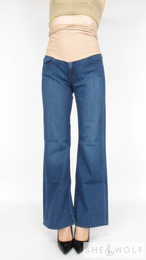 f9548535fe371 AG Wide Leg Flare Maternity Jeans 28 x 32