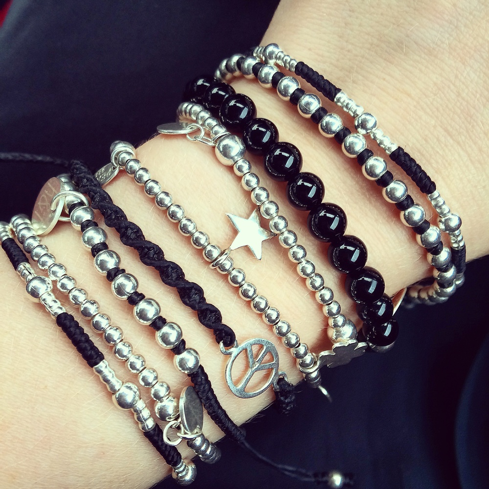 925 Sterling Silver Collection - Friendship bracelets, 925 silver, agate materials.