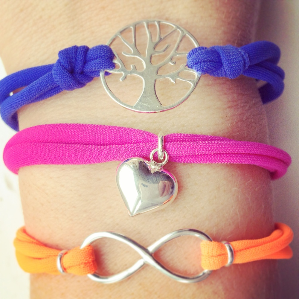 Rainbow Brights Collection - come in 3 styles, tree of life, infinity and love heart. Come in 6 rainbow bright colours! Stack them up!