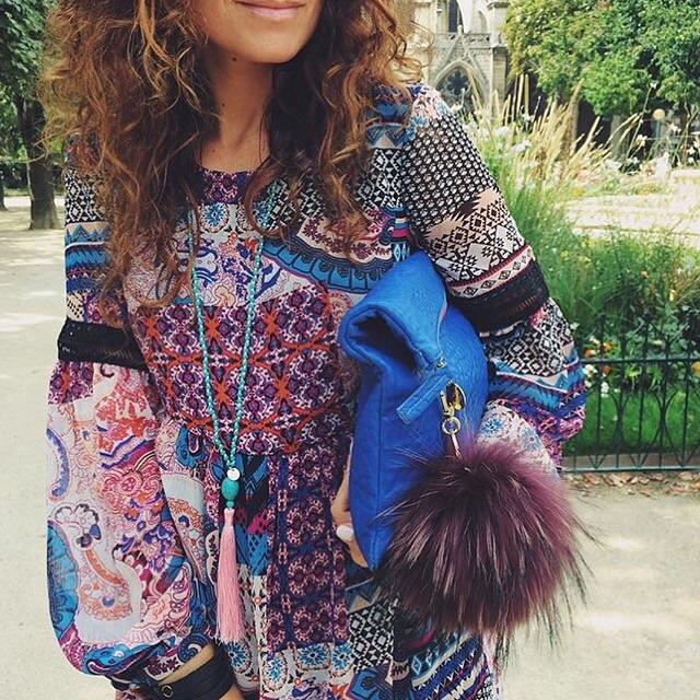 @ClaudiaFagadar wearing Helix and Felix Pink Tassel Pendant