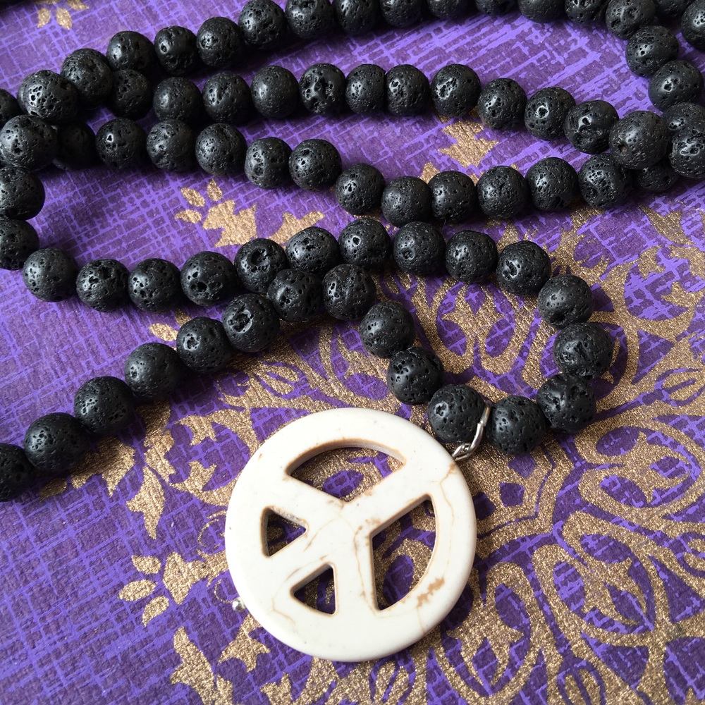 Chunky Lava Peace Necklace