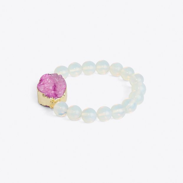 Gold Plated Pink Moonstone Bracelet