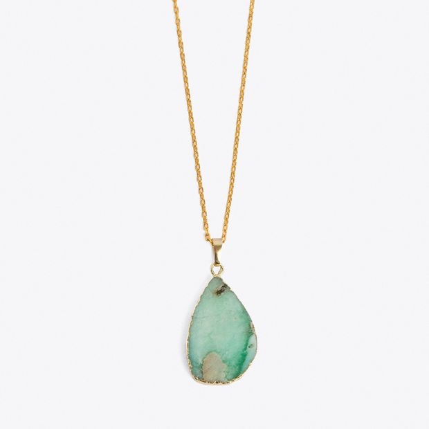 Gold Plated Flat Green Healing Pendant