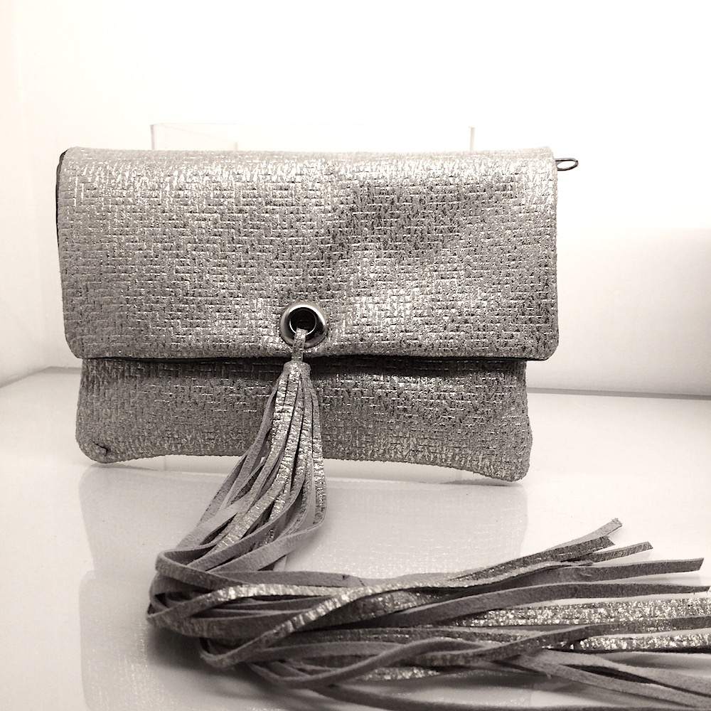 LONG TASSEL PURSE, SILVER.  £140