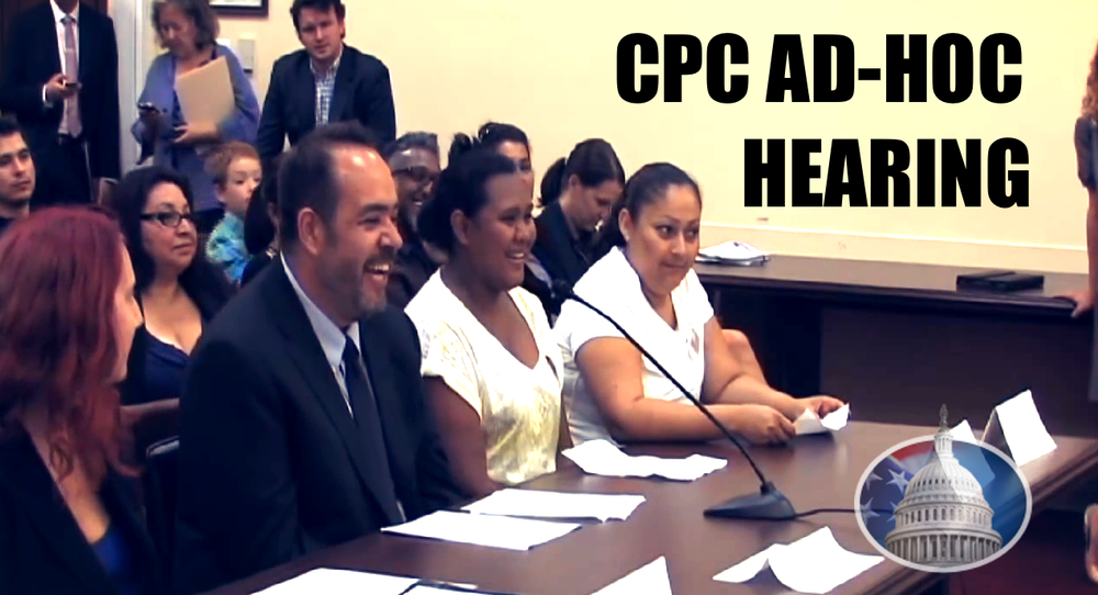 July 24, 2014, the CPC held an Ad-Hoc Hearing on wage theft committed at Federal Buildings across Washington, DC. Featuring experts and workers who were subject to wage theft.