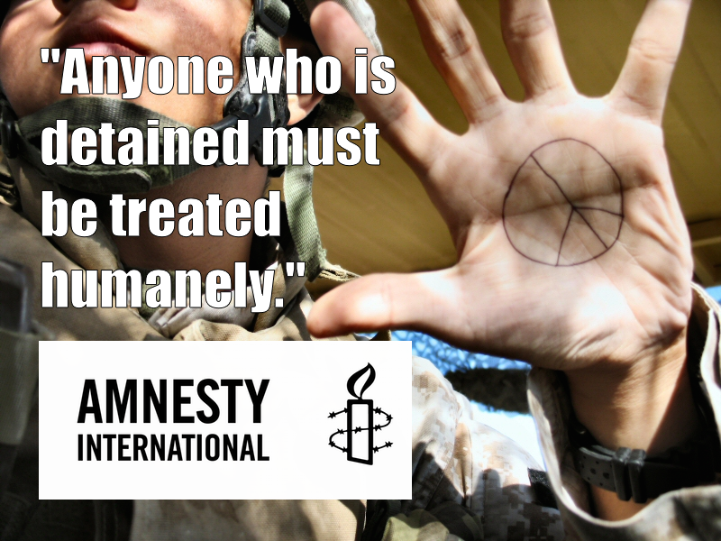 Image  Source .  Amnesty International has been in contact with detainees released from ISIS and  calls for the humane treatment  of all detainees.